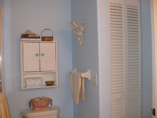 Pale blue walls gives a bathroom a clean feel (this is my bathroom.)