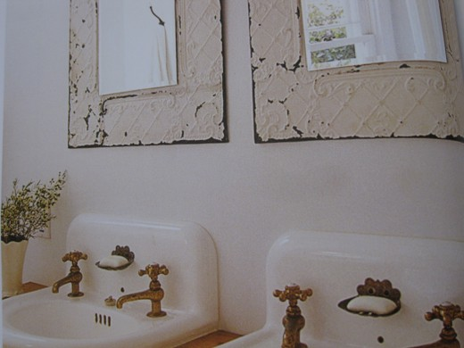 Another example of using old mirrors in a bathroom.