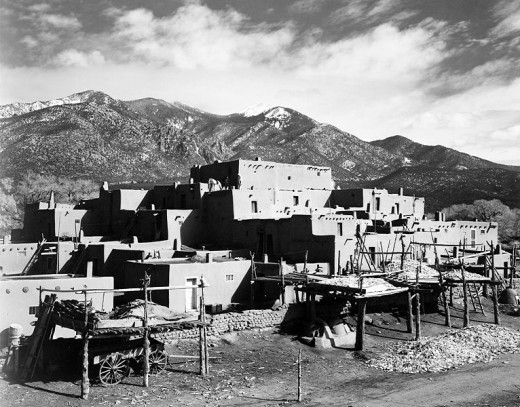 Taos Pueblo in New Mexico where we saw clay ovens in use. You can see one in the far right hand corner.
