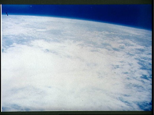 Photo of earth taken from orbit by Scott Carpenter. Photo courtesy of NASA.