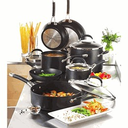 A wide range of hard anodized aluminum pots and pans are available