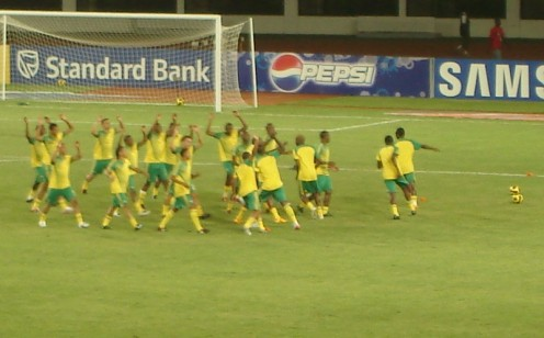 2008 edition of the South African National Football Team, nicknamed Bafana Bafana (The Boys, The Boys).