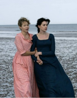 "Anna Maxwell Martin and Anne Hathaway starring as the Austen sisters in ""Becoming Jane""."
