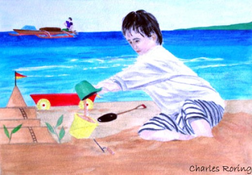 a boy building sand castle by watercolorist Charles roring