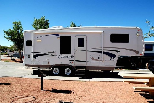 A fifth wheel ready for use