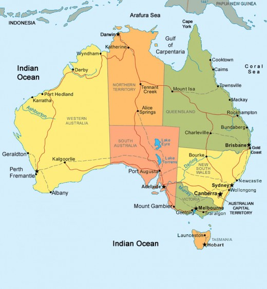 Map showing the political breakdown (states and territories) of Australia