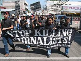 Journalists' murders denounced.  (UCANews photo)