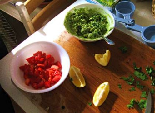 Tomatoes and mashed avocados / Photo by E. A. Wright