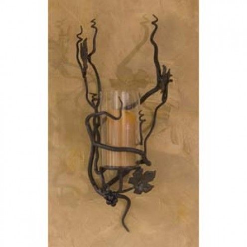 Wrought Iron Vineyard Hurricane Candle Sconce