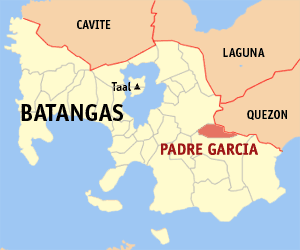 The map shows PADRE GARCIA, the hometown of Jovit and one of the 31 municipalities of Batangas.  Located southwest of Luzon in the CALABARZON region, with a land area of 316,581 hectares and a population of 1,905,348, BATANGAS is 1st class province w