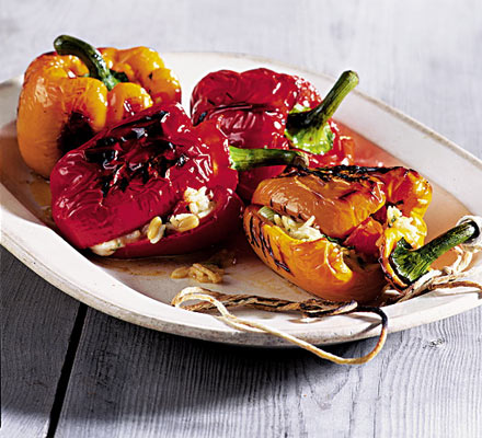Delicious grilled stuffed peppers. (Photo from   www.bbcgoodfood.com)