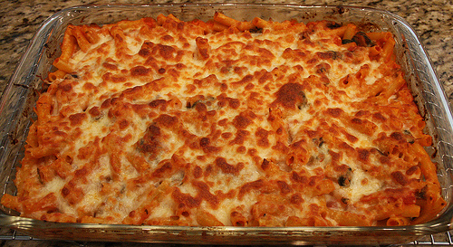 Homemade baked ziti with Italian sausage photo: lochnessjess @flickr