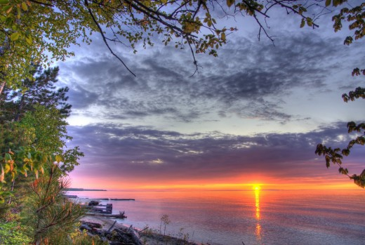 Sunset over the waters of Lake Superior
