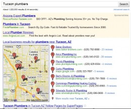 Example of Google Places Listing