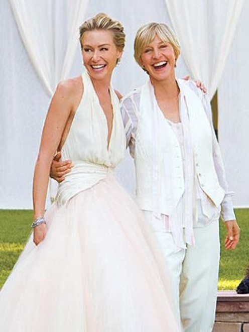 Portia and Ellen on their Wedding day;   Image complements of   http://tengossip.com