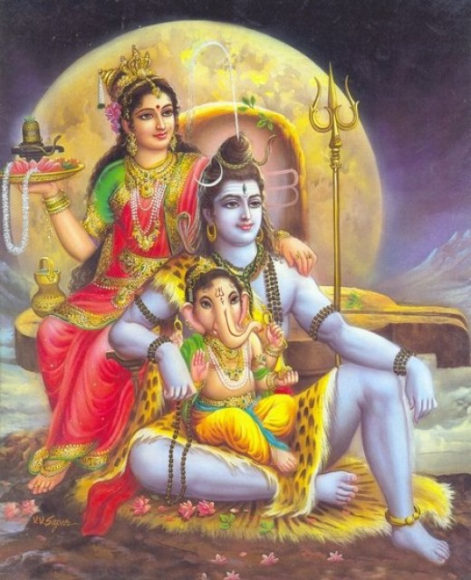 Shiv Parvati and Ganesha