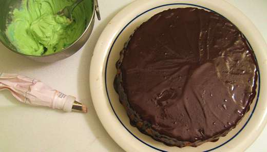 Cake frosted with thick chocolate glaze / Photo by E. A. Wright