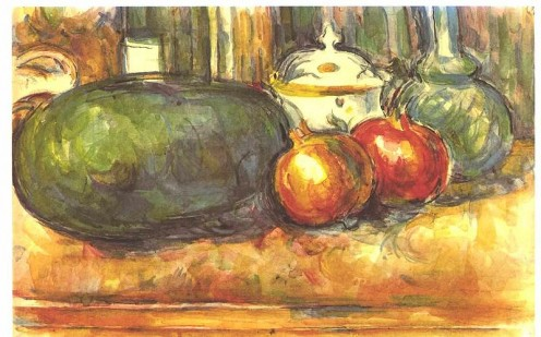 Still life with watermelon and pomegranates. Paul Cezanne (1839-1906).[public domain image]