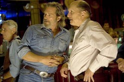 "Bad Blake (Jeff Bridges) and Wayne Kramer (Robert Duvall) in Wayne's bar. Scene from the movie ""Crazy Heart."""