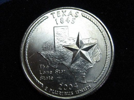 2004D Texas Statehood Quarter Reverse Doubled Die error.