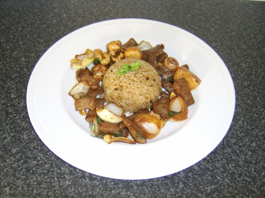 Beef and Cashew Nut Stir Fry with Fried Rice