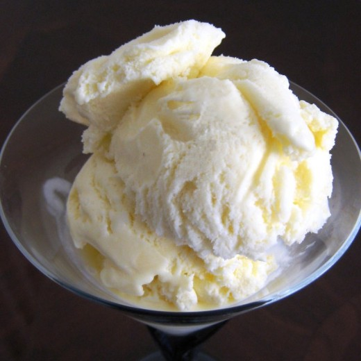 Vanilla flavored homemade ice cream
