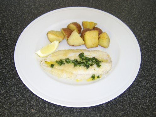 Pan Fried Fillet of Haddock with Lemon and parsley Sauce and Roasted Rooster Potatoes