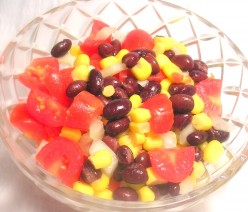 Black beans and corn, tomatoes and onions, a beautiful and refreshing salad. Photo by Sally's Trove.