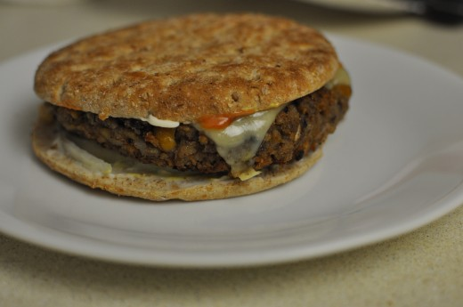 Vegan Friendly Veggie Burger.  My finished product of the Blue Plate Diner classic.  Personal photo.