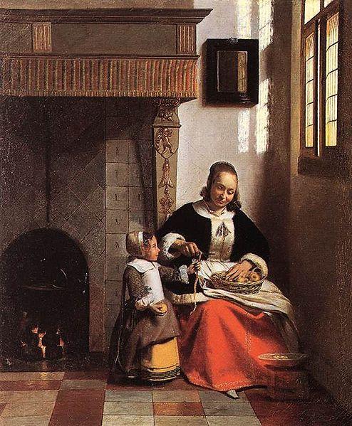 A woman peeling apples; Pieter de Hooch, circa 1663