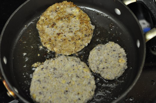 Allow patties to brown at least moderately before carefully turning. Personal photo.