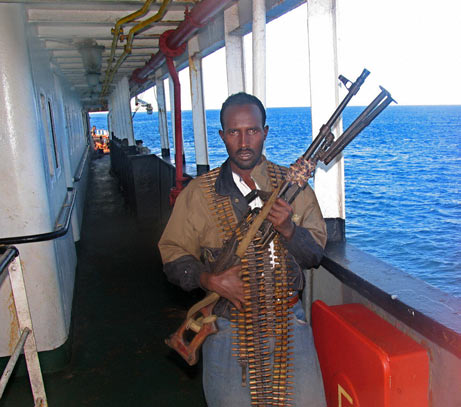 This pirate is armed with an M-240 Machine gun