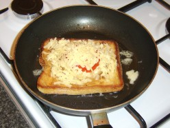 Grated Cheese Tops the Vegetarian Hawaiian Toast