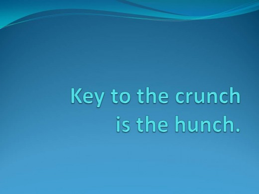 "Swim Fitness Exercise TIp - Colorful Poster - Aqua Lettering on Blue ""Key to the crunch is the hunch"""