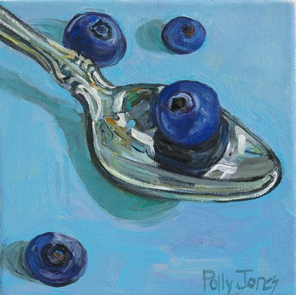 Art rendering of blueberries and a silver tea spoon