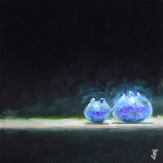 Art rendering of two blue berries with dark background - contemporary