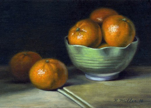 First class foods - art rendering of oranges in bowl and on table