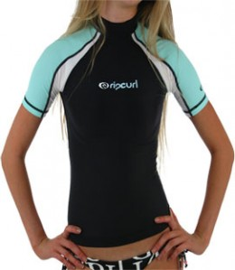Female in Black and Turquoise Surf Shirt