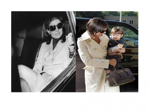Jackie and Katie - Similar Trench Coats Then and Now
