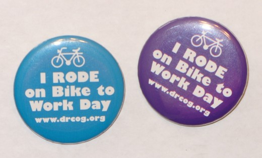 Recognition buttons for Bike to Work Day.