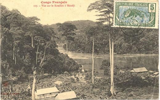 Postcard of Colonial Mandji, Congo; 1905.