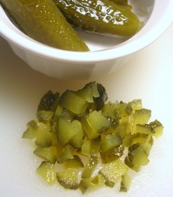 Finely minced sweet pickles. Photo by Sally's Trove.