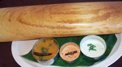South Paper dosa with sambar, coconut chutney and tomato chutney