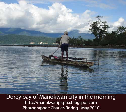 Dorey bay of Manokwari city in the morning