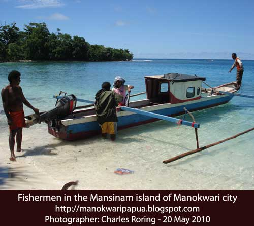 Fishermen in the tropical island of Mansinam of Manokwari city
