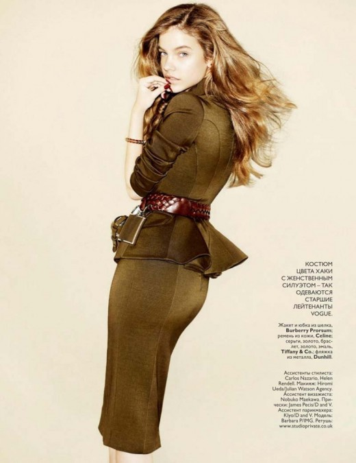 This image taken from Vogue, Russia, because, like methylated spirits, military fashion never goes out of style in Russia.