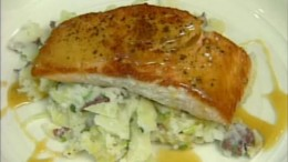 Salmon fish recipe with Irish Potato and Cabbage