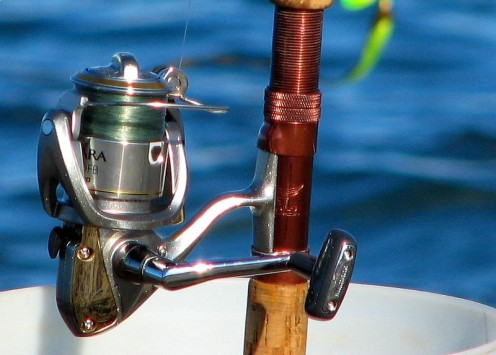 A spinning reel.