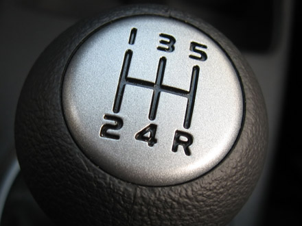 Look at the number, that's where the gears are positioned, in line 1st-5th and then reverse