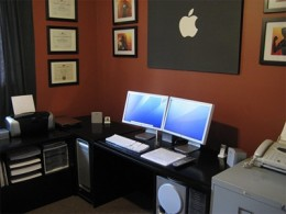 An Apple Mac workstation of two macs.